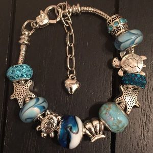 "7"" Silver Plated Charm Bracelet/Murano Glass Beads"